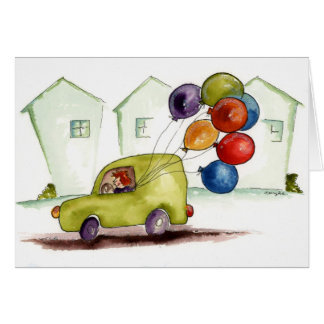 Delivering Balloons Greeting Card
