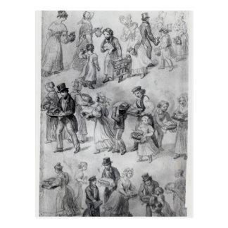Delivering Dinner, 1841 Postcard