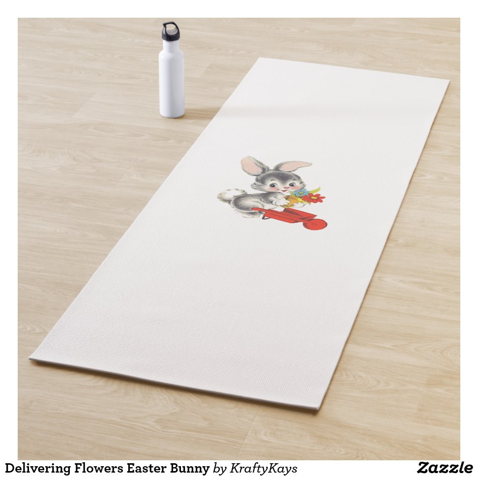 Delivering Flowers Easter Bunny Yoga Mat Eco Friendly Bpa Free
