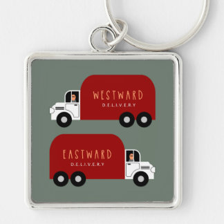 Delivery Silver-Colored Square Keychain
