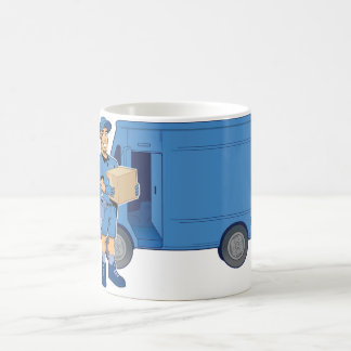Delivery Man And Van Coffee Mug