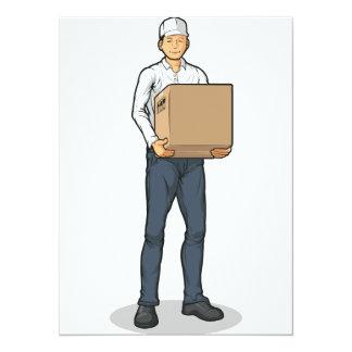 Delivery Man Bringing Carton Box 5.5x7.5 Paper Invitation Card