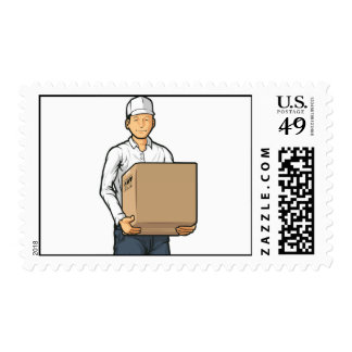 Delivery Man Bringing Carton Box Postage