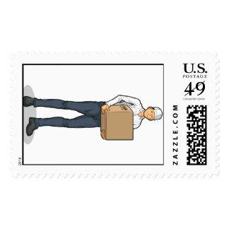 Delivery Man Bringing Carton Box Stamps