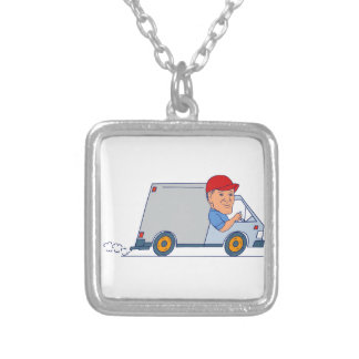 Delivery Man Driving Truck Van Cartoon Silver Plated Necklace