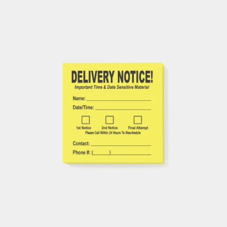 Delivery Notice Sticky Note