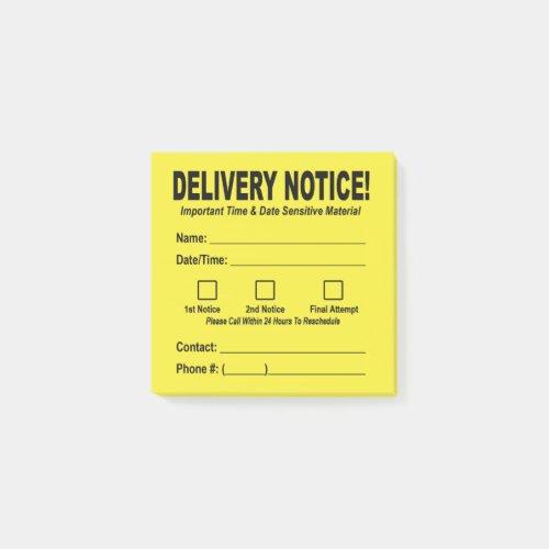 Delivery Notice Sticky Note