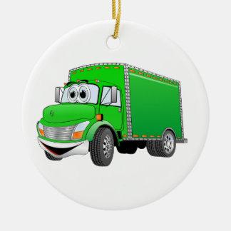 Delivery Truck Green Cartoon Ceramic Ornament