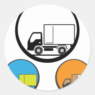 Delivery Truck Icon Vector Classic Round Sticker