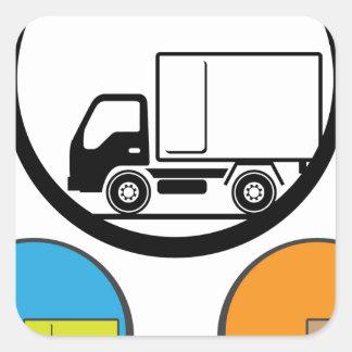 Delivery Truck Icon Vector Square Sticker