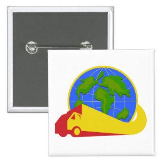 Delivery Truck Lorry Globe Retro Pinback Button