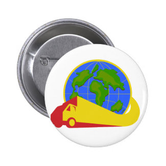 Delivery Truck Lorry Globe Retro Pinback Buttons