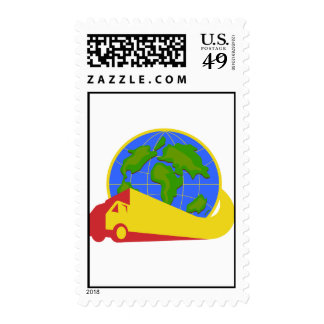 Delivery Truck Lorry Globe Retro Stamps