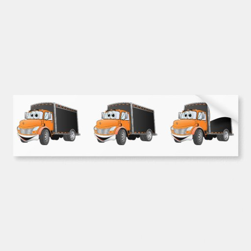 Delivery Truck Orange Black Box Cartoon Bumper Stickers