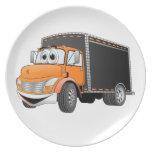 Delivery Truck Orange Black Box Cartoon Plates