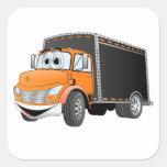 Delivery Truck Orange Black Box Cartoon Sticker