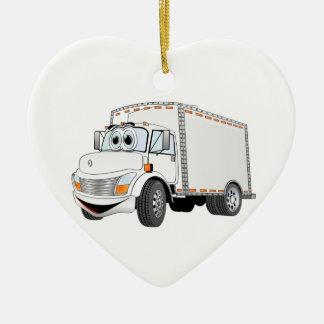 Delivery Truck White Cartoon Ceramic Ornament