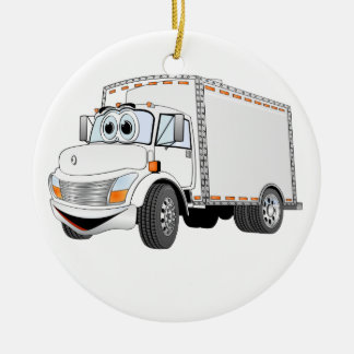 Delivery Truck White Cartoon Double-Sided Ceramic Round Christmas Ornament