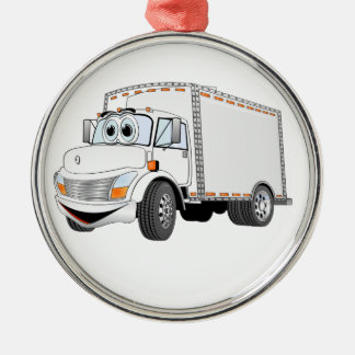 Delivery Truck White Cartoon Metal Ornament