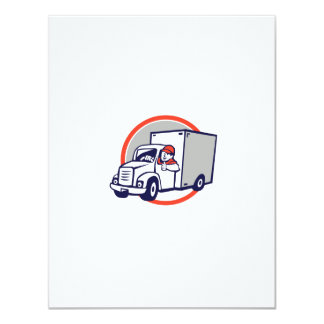 Delivery Van Driver Thumbs Up Circle Cartoon Card