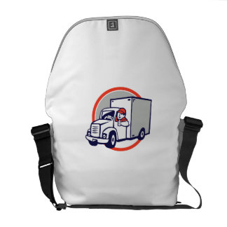 Delivery Van Driver Thumbs Up Circle Cartoon Courier Bag