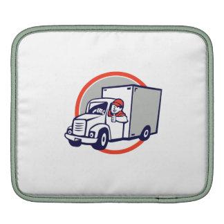 Delivery Van Driver Thumbs Up Circle Cartoon iPad Sleeve