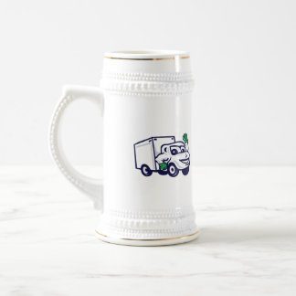 Delivery Van Waving Cartoon Beer Stein