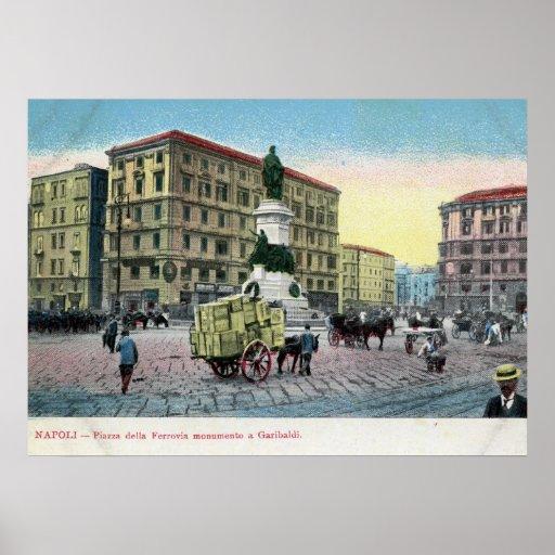 Della Ferrovia, Nápoles, Italia de la plaza Posters