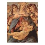 Della Melagrana de Madonna por Botticelli Tarjeta Postal