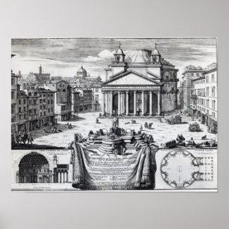 Della Rotonda de la plaza con vistas a panteón Poster