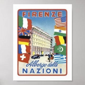 Delle Nazioni de Firenze Albergo sin la frontera Poster