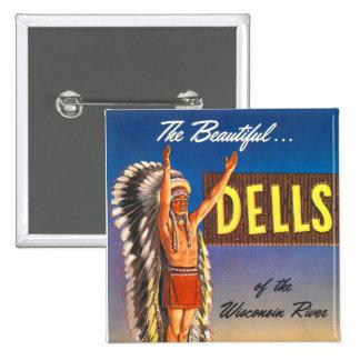 Dells retros de Wisconsin del jefe indio del kitsc Pin Cuadrado