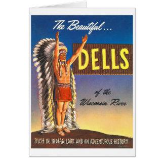 Dells retros de Wisconsin del jefe indio del kitsc Tarjeta