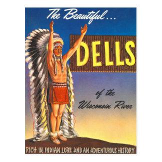 Dells retros de Wisconsin del jefe indio del kitsc Tarjeta Postal