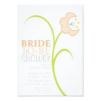 Delmonica Single Flower Bridal Shower Invite-Linen Card