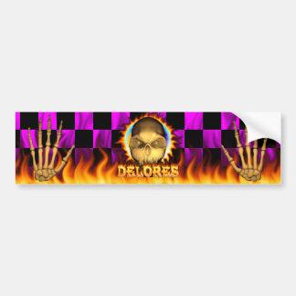 Delores skull real fire and flames bumper sticker. bumper sticker