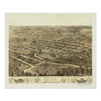 Delphi EN el mapa panorámico - 1868 Poster