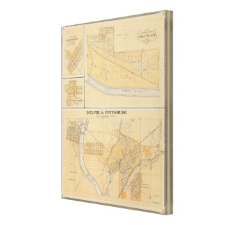 Delphi & Pittsburg with suburban towns Canvas Print