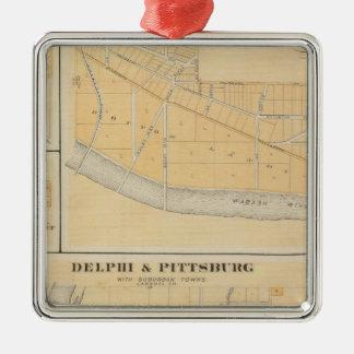 Delphi y Pittsburg con las ciudades suburbanas Adorno Navideño Cuadrado De Metal