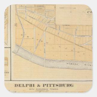 Delphi y Pittsburg con las ciudades suburbanas Pegatina Cuadrada
