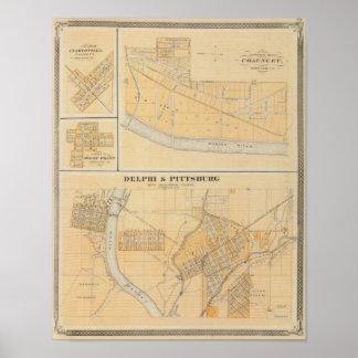 Delphi y Pittsburg con las ciudades suburbanas Póster