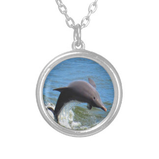 Delphine Playing Round Pendant Necklace