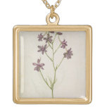 Delphinium ajacis, c.1568 square pendant necklace