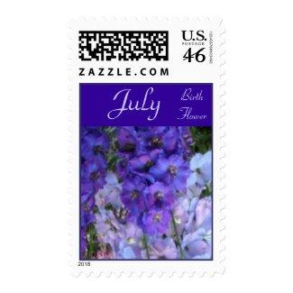 Delphinium Birth Flower Postage Stamps - JULY