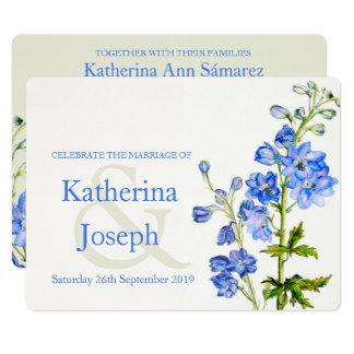 Delphinium blue watercolor wedding invite