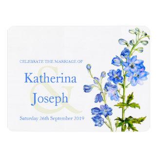 """Delphinium blue watercolor wedding invite 6.5"""" x 8.75"""" invitation card"""