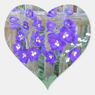 Delphinium Flower Fence Heart Sticker