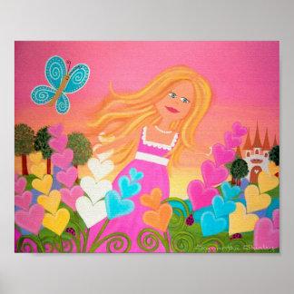 Delphinium Garden - 8x10 Flower Princess Kids Art Poster