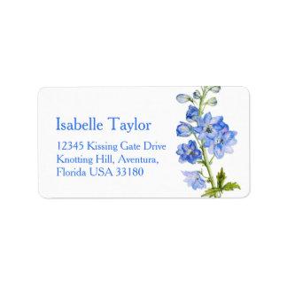 Delphinium painted blue wedding address label