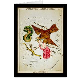 Delphinus, Sagitta, Aquila, and Antinous Card